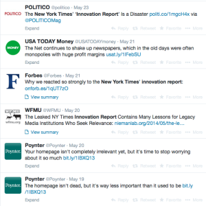 The journalism world was all atwitter about the NYT Innovation Report.