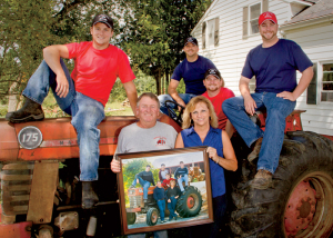 The Gingues are brand ambassadors from way back. When we visited their farm, we recreated a family portrait on a 40-plus-year-old tractor, still running after all these years.